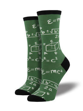 Your inner nerd will love you for these math socks. Featuring Einstein's Theory of Relativity, the Quadratic Equation, and many more equations, they are perfect for a math teacher, math lover, or the rest of us that need a fun incentive to improve upon our skills.  Sock size 9-11 fits U.S. women's shoe size 5-10.5  Fiber Content: 63% Cotton, 34% Nylon, 3% Spandex