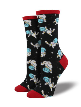 Have you ever dreamed of cats in space? We have catstronaut socks!... Yes, this is a cat astronaut in space! These socks may not be gravity defying, but at least they'll defy dull fashion.  Sock size 9-11 fits U.S. women's shoe size 5-10.5  Fiber Content: 63% Cotton, 34% Nylon, 3% Spandex