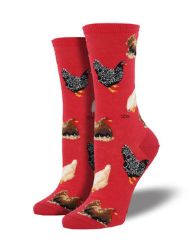 Why did the chicken cross the road? These socks don't have the answer, but they are definitely cool! Featuring numerous types of hens, our hen house socks are perfect for a farmer or animal enthusiast.  Sock size 9-11 fits U.S. women's shoe size 5-10.5  Fiber Content: 63% Cotton, 34% Nylon, 3% Spandex