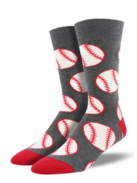 Take our baseball socks out to the ballgame, or out to dinner, or over to bae's house to meet the parents. Try wearing this sock on one foot, with a corndog sock on the other for a game-ready fashion double play.  Sock size 10-13 fits U.S. men's shoe size 7-12.5 Fiber Content: 70% Cotton, 27% Nylon, 3% Spandex