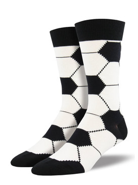 Be the defender of great fashion with our soccer socks. Classic black and white make these socks striking with a solid jock vibe. Whether you're playing field games or playing the field, these sports socks deliver some kick to your look.  Sock size 10-13 fits U.S. men's shoe size 7-12.5 Fiber Content: 70% Cotton, 27% Nylon, 3% Spandex