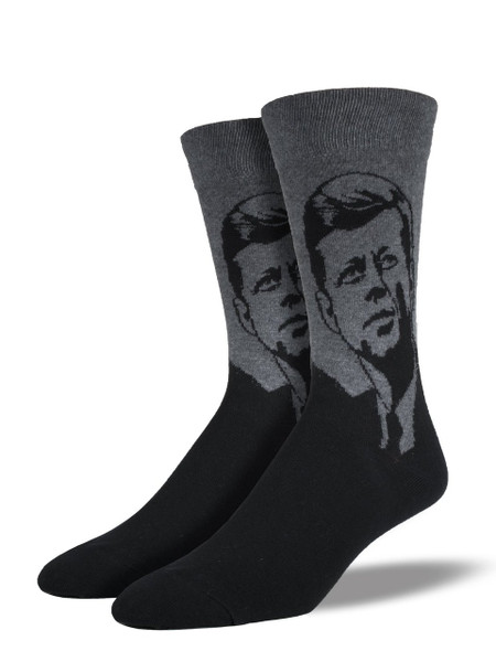 """""""Ask not what your country can do for you, ask what you can do for your country,"""" – John F. Kennedy. These socks are sure to help you celebrate our famous 35th president.   Sock size 10-13 fits U.S. men's shoe size 7-12.5 Fiber Content: 70% Cotton, 27% Nylon, 3% Spandex"""