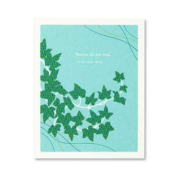 """Inside: We keep them written in our hearts. Deepest sympathies.  Celebrate the most important people in your life with the best-selling Positively Green line of cards, which features beautiful illustrations, thoughtful quotations, and helpful green tips—plus a portion of your purchase goes directly to organizations that protect the environment.  4.25""""W x 5.38""""H Plain white envelope Printed with soy ink on FSC®-certified 100% recycled stock"""