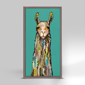 "Wow does this llama pack a lot of personality! Here in a mini version finished in our rustic natural frame, he's perfect on a shelf or on the wall. Collect more of Eli's animals and make a fresh focal display. Good things come in small packages! And in this case it's our new mini framed canvas art. Get creative by bringing a series of small things together. These mini masterpieces come ready to set on a shelf or hang on a wall. Our frames are approximately 1.25"" in depth and come with a lightly distressed rustic finish that creates a beautiful texture. Please note that frame color is predetermined for each design and the frame finishes may vary due to the intentional rustic finish. Our canvas art is reproduced in our San Diego studios using the best digital reproduction method currently available, resulting in great clarity and color saturation. Canvases are exceptionally durable and can be cleaned with a soft, dry or slightly damp cloth.  Artist:  Eli Halpin   Size:  5x10"