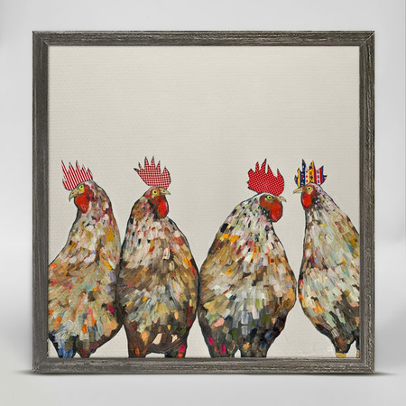 "Paint brush stroked feathers decorate the bodies of these modern roosters, and fun patterned combs make them stand out in style. Eli Halpin's wonderful collection of nature canvas art is uniquely elegant. Add some flair to your home decor with her colorful and unforgettable designs. Good things come in small packages! And in this case it's our new mini framed canvas art. Get creative by bringing a series of small things together. These mini masterpieces come ready to set on a shelf or hang on a wall. Our frames are approximately 1.25"" in depth and come with a lightly distressed rustic finish that creates a beautiful texture. Please note that frame color is predetermined for each design and the frame finishes may vary due to the intentional rustic finish. Our canvas art is reproduced in our San Diego studios using the best digital reproduction method currently available, resulting in great clarity and color saturation. Canvases are exceptionally durable and can be cleaned with a soft, dry or slightly damp cloth.  Artist:  Eli Halpin.   Size: 10x5 ."