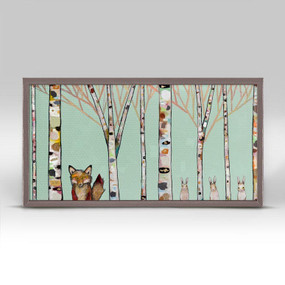 "It's hard to resist the cuteness of these fox and rabbit forest friends by Eli Halpin! This wall art features woodland animals and birch trees over a mint background. Add this nature decor to your art collection and bring the beauty of the forest into your home. Good things come in small packages! And in this case it's our new mini framed canvas art. Get creative by bringing a series of small things together. These mini masterpieces come ready to set on a shelf or hang on a wall. Our frames are approximately 1.25"" in depth and come with a lightly distressed rustic finish that creates a beautiful texture. Please note that frame color is predetermined for each design and the frame finishes may vary due to the intentional rustic finish. Our canvas art is reproduced in our San Diego studios using the best digital reproduction method currently available, resulting in great clarity and color saturation. Canvases are exceptionally durable and can be cleaned with a soft, dry or slightly damp cloth.  Artist:  Eli Halpin   Size:    10x5"