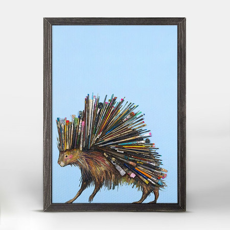"""This prickly porcupine is having a very colorful day! Let his unique paintbrush bristles inspire you create an eclectic collage. Shop this and more animal wall art from Eli Halpin. Good things come in small packages! And in this case it's our new mini framed canvas art. Get creative by bringing a series of small things together. These mini masterpieces come ready to set on a shelf or hang on a wall. Our frames are approximately 1.25"""" in depth and come with a lightly distressed rustic finish that creates a beautiful texture. Please note that frame color is predetermined for each design and the frame finishes may vary due to the intentional rustic finish. Our canvas art is reproduced in our San Diego studios using the best digital reproduction method currently available, resulting in great clarity and color saturation. Canvases are exceptionally durable and can be cleaned with a soft, dry or slightly damp cloth.  Artist:  Eli Halpin   Size:  5x7"""