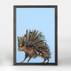 "This prickly porcupine is having a very colorful day! Let his unique paintbrush bristles inspire you create an eclectic collage. Shop this and more animal wall art from Eli Halpin. Good things come in small packages! And in this case it's our new mini framed canvas art. Get creative by bringing a series of small things together. These mini masterpieces come ready to set on a shelf or hang on a wall. Our frames are approximately 1.25"" in depth and come with a lightly distressed rustic finish that creates a beautiful texture. Please note that frame color is predetermined for each design and the frame finishes may vary due to the intentional rustic finish. Our canvas art is reproduced in our San Diego studios using the best digital reproduction method currently available, resulting in great clarity and color saturation. Canvases are exceptionally durable and can be cleaned with a soft, dry or slightly damp cloth.  Artist:  Eli Halpin   Size:  5x7"