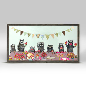 "A delightful gathering of raccoon friends will bring joy and nature to your wall decor collection. This is a fun piece that will brighten up any room in your home! Good things come in small packages! And in this case it's our new mini framed canvas art. Get creative by bringing a series of small things together. These mini masterpieces come ready to set on a shelf or hang on a wall. Our frames are approximately 1.25"" in depth and come with a lightly distressed rustic finish that creates a beautiful texture. Please note that frame color is predetermined for each design and the frame finishes may vary due to the intentional rustic finish. Our canvas art is reproduced in our San Diego studios using the best digital reproduction method currently available, resulting in great clarity and color saturation. Canvases are exceptionally durable and can be cleaned with a soft, dry or slightly damp cloth.  Artist:  Eli Halpin   Size: 10x5"
