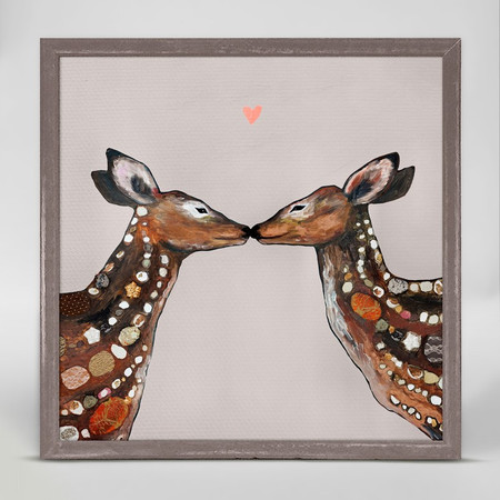 """Two deer show affection in this sweet, yet sophisticated piece from Eli Halpin. Good things come in small packages! And in this case it's our new mini framed canvas art. Get creative by bringing a series of small things together. These mini masterpieces come ready to set on a shelf or hang on a wall. Our frames are approximately 1.25"""" in depth and come with a lightly distressed rustic finish that creates a beautiful texture. Please note that frame color is predetermined for each design and the frame finishes may vary due to the intentional rustic finish. Our canvas art is reproduced in our San Diego studios using the best digital reproduction method currently available, resulting in great clarity and color saturation. Canvases are exceptionally durable and can be cleaned with a soft, dry or slightly damp cloth.  Artist:  Eli Halpin   Size:  6x6"""