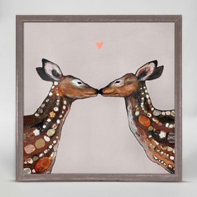 "Two deer show affection in this sweet, yet sophisticated piece from Eli Halpin. Good things come in small packages! And in this case it's our new mini framed canvas art. Get creative by bringing a series of small things together. These mini masterpieces come ready to set on a shelf or hang on a wall. Our frames are approximately 1.25"" in depth and come with a lightly distressed rustic finish that creates a beautiful texture. Please note that frame color is predetermined for each design and the frame finishes may vary due to the intentional rustic finish. Our canvas art is reproduced in our San Diego studios using the best digital reproduction method currently available, resulting in great clarity and color saturation. Canvases are exceptionally durable and can be cleaned with a soft, dry or slightly damp cloth.  Artist:  Eli Halpin   Size:  6x6"