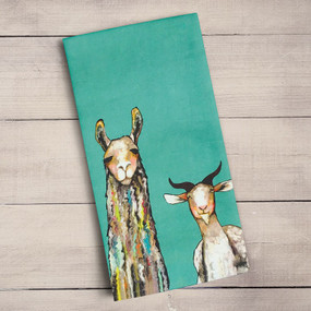 It is pretty clear that this motley crew of farm animals has grabbed your attention. Let the conversations begin with Eli Halpin's art that will be a show-stopping addition! Tea time just got a much needed makeover! Transform your kitchen with our unique and fully decorative tea towels. These 100% cotton tea towels feature beloved work from some of your favorite artists! Function meets fabulous with our delightfully absorbent, machine washable, and high-quality tea towels.  Artist:  Eli Halpin    Cotton 21x28