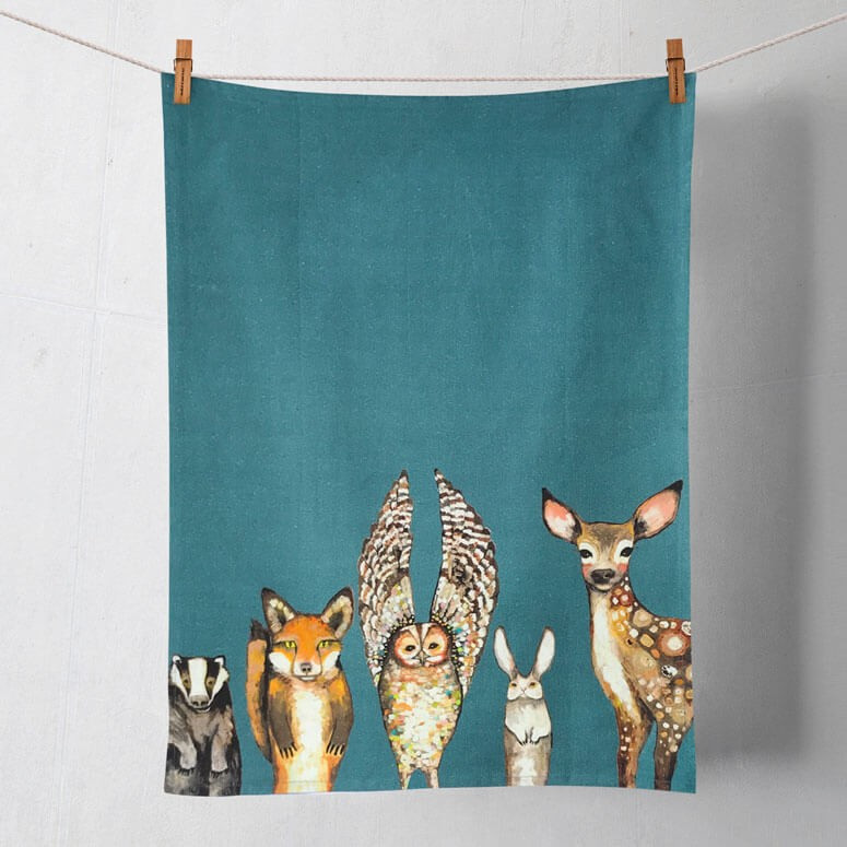 forest animals tea towels | hand towels, gift for mom, gift for ...