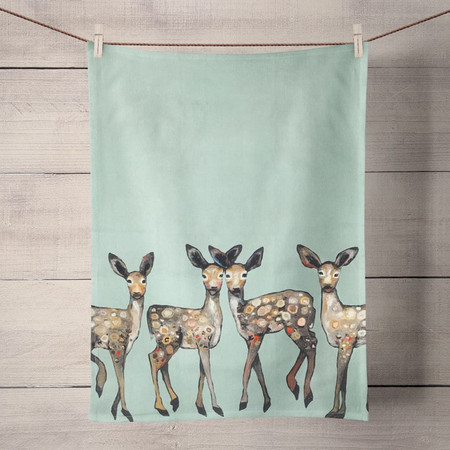 Five fawns dance on this tea towel, courtesy of acclaimed artist Eli Halpin's brushwork. Living in harmony with our animal friends never looked so good, and Ms. Halpin's work reminds us of the bonds between all creatures. Tea time just got a much needed makeover! Transform your kitchen with our unique and fully decorative tea towels. These 100% cotton tea towels feature beloved work from some of your favorite artists! Function meets fabulous with our delightfully absorbent, machine washable, and high-quality tea towels.  Artist:  Eli Halpin    Cotton 21x28