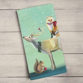 These adorable animal friends are all decked out for the holidays! Add to your Christmas decor with our holiday collection. Tea time just got a much needed makeover! Transform your kitchen with our unique and fully decorative tea towels. These 100% cotton tea towels feature beloved work from some of your favorite artists! Function meets fabulous with our delightfully absorbent, machine washable, and high-quality tea towels.   Artist:  Cathy Walters    Cotton 21x28