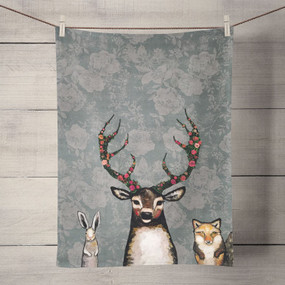 This unlikely trio certainly captivates the viewer against the lovely floral background. Stately and a bit, dare we say, magical, the animals in artist Eli Halpin's wonderful forest delight us every time. Tea time just got a much needed makeover! Transform your kitchen with our unique and fully decorative tea towels. These 100% cotton tea towels feature beloved work from some of your favorite artists! Function meets fabulous with our delightfully absorbent, machine washable, and high-quality tea towels.   Artist:   Eli Halpin    Cotton 21x28