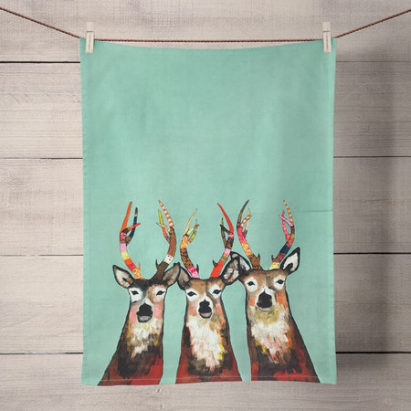 These hip deer will lead the way to contemporary art that kids, teens, and adults will all enjoy. Tea time just got a much needed makeover! Transform your kitchen with our unique and fully decorative tea towels. These 100% cotton tea towels feature beloved work from some of your favorite artists! Function meets fabulous with our delightfully absorbent, machine washable, and high-quality tea towels.   Artist:   Eli Halpin    Cotton 21x28