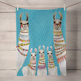 This darling family of llamas is ready to party! The colorful beads accessorizing their towering necks perfectly pop against their soft cream wool. Shop this and more festive animal art from the talented Eli Halpin. Tea time just got a much needed makeover! Transform your kitchen with our unique and fully decorative tea towels. These 100% cotton tea towels feature beloved work from some of your favorite artists! Function meets fabulous with our delightfully absorbent, machine washable, and high-quality tea towels.  Artist:  Eli Halpin   Cotton 21x28