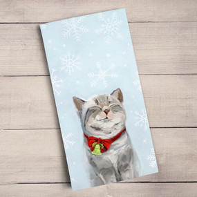 This little tabby is feeling the warmth and happiness of the Christmas season! Shop this and more adorable holiday art from Cathy Walters. Tea time just got a much needed makeover! Transform your kitchen with our unique and fully decorative tea towels. These 100% cotton tea towels feature beloved work from some of your favorite artists! Function meets fabulous with our delightfully absorbent, machine washable, and high-quality tea towels.  Artist:   Cathy Walters    Cotton 21x28