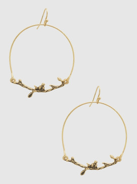 A delicate earring in gold that is inspired by nature  Size: 2.25""