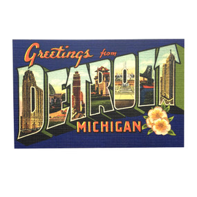 This old-timey Greetings from Detroit postcard is a reproduction of a vintage card from the 1920's and is a classy way to say hello to a friend, while sharing your Detroit pride.