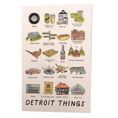 """Do you head to Eastern Market on Saturday mornings, rain or shine, spring or fall? Do you know how to pronounce Dequindre and Gratiot? Do you call beer...Strohs? If you answered yes to any of these questions, you must be a Detroiter! Celebrate what makes Detroit and the people who live here special in this original design and City Bird exclusive featuring 20 of our favorite """"Detroit Things."""""""