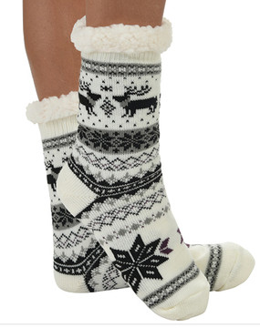 Pamper your feet and stay super cozy with these ultra soft sherpa socks.  They fit shoe sizes 5-10, have non-skid soles and are machine washable.