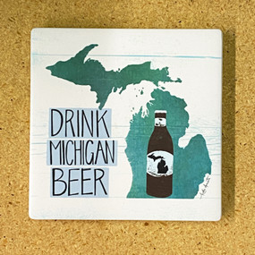 Celebrate your favorite state with an adorable coaster handmade by Michigan artist, Katie Doucette. Size: 4x4