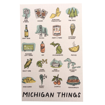 """Do you use your hand as a map when showing people where you're from? Do you know how to play Euchre? Do you head Up North in the summer? Do you call pop...pop? If you answered yes to any of these questions, you must be from Michigan! Celebrate what makes Michigan and the people who live here special in this magnet featuring 20 of our favorite """"Michigan Things.""""  Size: 2.5x3.5"""