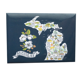This magnet features an original, illustrated map of Michigan that highlights the cities, foods, products, culture, and natural beauty that make our state so great!   Size: 2.5x3.5
