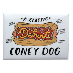 You will find all of the essential components of a Detroit Coney highlighted on this magnet.  If you or someone in your life is a Detroit Coney lover, this is an essential! Size: 2.5x3.5