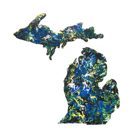 """Celebrate your favorite state with this small painted michigan sticker.  Perfectly sized to place on a notebook, lap top, water canteen and more. Size: 1""""x2"""""""
