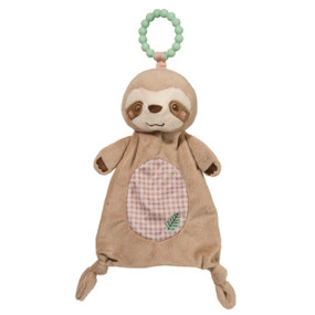 "Douglas's Silly Little Sloth Teether's friendly face and 100% safe silicone teething ring are just what Baby needs for those difficult teething days! Our sloth's happy expression and warm tan materials come together for a sophisticated infant soft toy. We use only the finest luxury fabrics and designs crafted to please and soothe Baby. Additional details include charming embroidered embellishments on the face, paws, and belly. Little knotted feet complete his look. Enjoy this sloth teether on its own or consider matching it with other soft accessories from our Silly Little Sloth collection. · 100% silicone teether ring · Safe & soothing · 10"" tall · Soft fabrics & embroidered details · Can be matched with coordinating Silly Little Sloth accessories · Machine washable · Tested safe for infants"