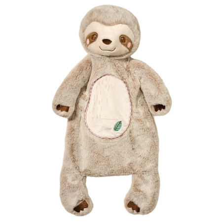 Our Silly Little Sloth Schlumpie is the ideal companion for Baby. Measuring 19 inches long, this machine washable soft toy's unique design allows it to double as a blanket and a stuffed animal! Whether it's placed out flat for Baby to lie on, or being snuggled, our plush Schlumpie characters set a new standard for creativity in infant toys. Our sloth is made with only the softest materials available and features charming embroidered facial details and a little leaf on his belly. This Schlumpie will win any baby's affection! Match this endearing sloth Schlumpie with your favorite products in our Silly Little Sloth collection to build a custom set. · Appealing, happy character · 19 inches long · Made of the softest fabrics · Embroidered details · Can be matched with coordinating Silly Little Sloth accessories · Machine washable · Tested safe for infants