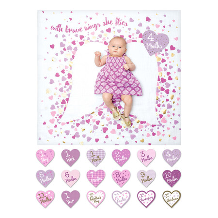 The Baby's First Year™ blanket & card set makes the perfect prop for easy DIY monthly photos! This deluxe set includes one muslin blanket with metallic print, 14 coordinating milestone cards for recording baby's age from 1 day to 1 year, and four additional holiday cards. Snap a photo and share with friends on social media, create beautiful keepsake photos, and add other props and toys for a personal touch. Perfect for the modern social mom! four bonus holiday celebration cards; 1st Valentines, 1st Easter, 1st Thanksgiving, 1st Christmas beautiful gift box with metallic touches 100% cotton muslin blanket with metallic embellishments 40″ x 40″ (100cm x 100cm) use also as a swaddle, nursing cover, baby blanket, and stroller cover