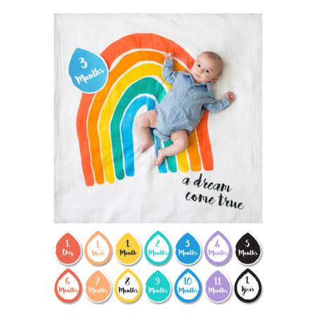"""Perfect for the modern day social mom. This 40"""" x 40"""" (over 1 sq. meter) muslin blanket and card combination makes the perfect prop for baby photos. Snap a picture and share with friends on social media Create beautiful keepsake photos Track baby's growth during the first year Add other props and toys for a personal touch Machine wash. Imported.   Beautifully packaged. Each set includes: One muslin blanket that can also be used as a swaddle, stroller cover, baby blanket, and nursing cover. Prewashed – 100% cotton 14 milestones for recording baby's age from 1 day to 1 year"""