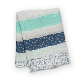 This extra-large bamboo muslin swaddle is a beautiful natural alternative to the cotton swaddle. Babies love the silky soft texture and moms love the wide range of uses. Not only perfect for swaddling, these can also be used as a nursing cover, baby blanket, portable crib sheet, change pad, stroller cover, and more. 70% bamboo sourced rayon + 30% cotton 47″ x 47″ (120cm x 120cm) Versatile and breathable. Pre-washed, dual layer and softer with each use.