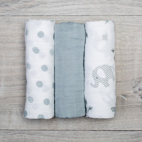 "Each three pack includes dual layer muslin cloths that become softer with wash and wear.  Our muslin receiving blankets are a diaper bag essential.  versatile: receiving blanket, burp cloth, change mat, security blanket absorbent: handy for wiping spills or use as a bib generous size: 28"" x 28"" (70cm x 70cm)"