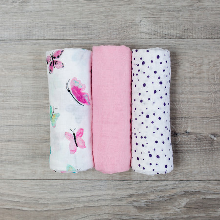 """Each three pack includes dual layer muslin cloths that become softer with wash and wear.  Our muslin receiving blankets are a diaper bag essential.  versatile: receiving blanket, burp cloth, change mat, security blanket absorbent: handy for wiping spills or use as a bib generous size: 28"""" x 28"""" (70cm x 70cm)"""