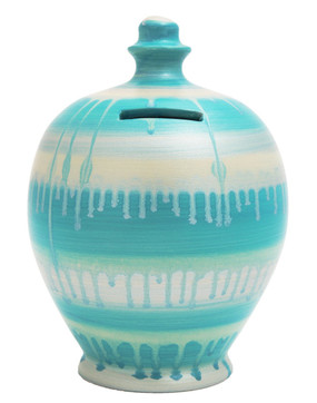 aqua glaze money pot