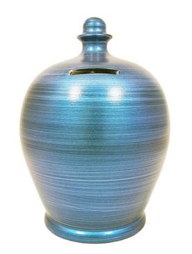 metallic blue money pot