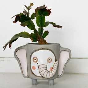 Here, we love plants and cute pots and can't seem to ever have enough of them! •    perfect for a standard 4″ pot to drop down into •    comes with hole & plug in bottom for drainage •    cast in resin, finished by hand •    does not include plant © Allen Designs Designed by artist Michelle Allen