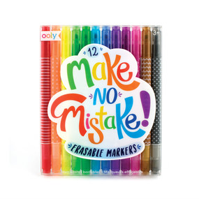 Draw, color and? erase? Yes, with Make No Mistake Erasable Markers you can actually fix any mistakes you make. Just color like a normal marker and if you want to erase just flip the double sided marker over to clean up your mistake. You can even use these markers to erase inside color to make really fun and creative designs and messages too. The marker tip is chiseled for really fine coloring or broad strokes too. Set of 12.