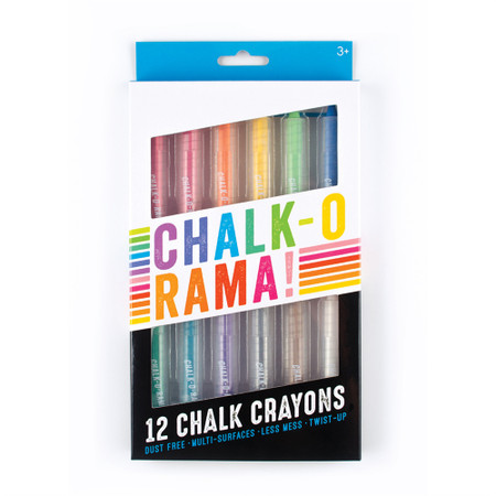 With Chalk-O-Rama Chalk Crayons, you can show off your creative expression on nearly any surface. You can write with chalk on glass, wood and a whiteboard? Yep, yep and yep. Chalk-O-Rama is the go-to chalk set for coloring your world. Chalk-O-Rama Chalk Crayons write on both porous and non-porous surfaces. Try them on glass, windows and mirrors. They'll work on cardboard, wood, whiteboards and no doubt these chalk sticks will write on chalkboards. And let's not leave paper out of the mix because Chalk-O-Ramas will write on that too; including black paper. Chalk-O-Ramas will wash off easily on non-porous surfaces like glass and whiteboards but are a bit more permanent on porous surfaces. There's no more dusty hands with these chalk crayons either because Chalk-O-Ramas are encased in a plastic barrel; just give it a twist just like lipstick and you're on your way to colorful creativity. Set of 12. Chalk Sticks that Write Work on Many Surfaces Feels Like a Waxy Crayon Permanent on Porous Surfaces Wipes Off Easily on Non-Porous Surfaces Encased in Plastic Barrels with Twist Up Action Set of 12 Suitable for Children 3 and Up