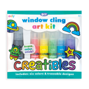 Run out of wall space? Add some happy color to your windows with the Creatibles Window Cling Art Kit and use the light of the sun to brighten up your room and your world. With five colors and 14 designs to choose from, the sky is no longer the limit because the sky is now your canvas!Drawing and painting no longer has to happen on paper and card. You can now use your windows to bring colorful rays of light into your home. The Creatables DIY Window Cling Kit is perfect for a day of arts and crafts and is also great to decorate a room for a party. You can get started right away with the 14 included designs. Follow the included instructions to trace the designs using the black outliner paint, add color, leave for 24 hours and then you're ready to stick them to your windows. You can also create your own designs using the blank reusable films for even more creative fun!  5 bottles of colored paint (20ml) - mix the colors to create new ones 1 bottle of black outliner paint (40ml) - use to outline your designs 2 reusable transparent films - never stop creating 1 glue stick and 14 traceable designs - ready to go right out of the pack Suitable for ages 6 and up, adult supervision suggested