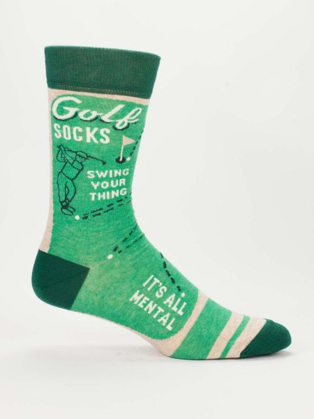 "These socks are a hole-in-one! Ok, that was too easy. Look, I know very little about golf, but I know that there's a lot of beer involved. And when you're drinking beer, you want your feet to be comfy, right?  Men's shoe size 7-12. 57% combed cotton; 40% nylon; 3% spandex. PLEASE NOTE: This sock features panoramic art - awesome from every angle. There's no ""right and left."" The sassy phrase falls on the outside of your right leg, and the inside of your left."