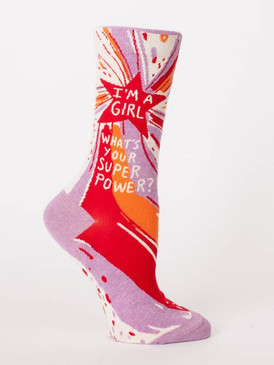 "We all have one. It's just that some are better than others. Women's shoe size 5-10. 52% combed cotton, 46% nylon and 2% spandex. PLEASE NOTE: This sock features panoramic art - awesome from every angle. There's no ""right and left."" The sassy phrase falls on the outside of your right leg, and the inside of your left."