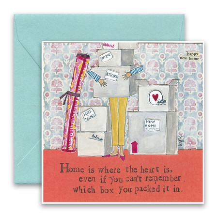 """Embrace the magic of small moments with Curly Girl! Colorful collage art and hand-stamped wisdom make every piece a work of art that happens to be a super handy, post-perfect greeting card!  Our Home Is Where Greeting Card says:""""Home is where the heart is, even if you can't remember which box you packed it in.""""Small words: """"happy new home"""" 5.5"""" Square* Blank Inside Colored Envelope* Poly-sleeved*Square cards may require additional postage *Envelope color may vary"""