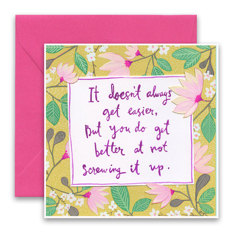 Get better at not screwing it up encouragement card advice embrace the magic of small moments with curly girl colorful collage art and hand m4hsunfo