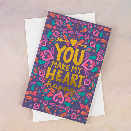 Features gold foil details! Packaged individually in a cello bag with envelope. Standard postage rates apply. Cards are blank inside for personal message. Sentiment: You make my heart happy Composition: paper Dimensions: 5.25in L x 3.5in W